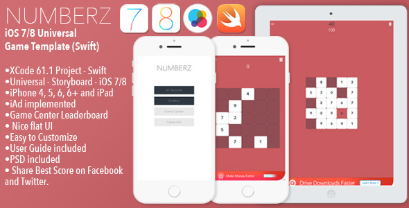 CodeCanyon NUMBERZ Full iOS Universal Game Template Swift 10430248