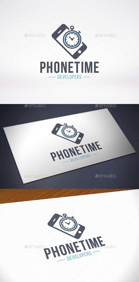 GraphicRiver Phone Time Logo Template 10430464