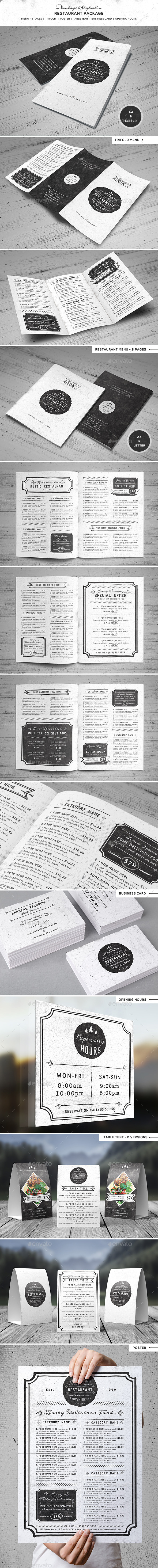 GraphicRiver Vintage Stiylish Restaurant Package 10432237