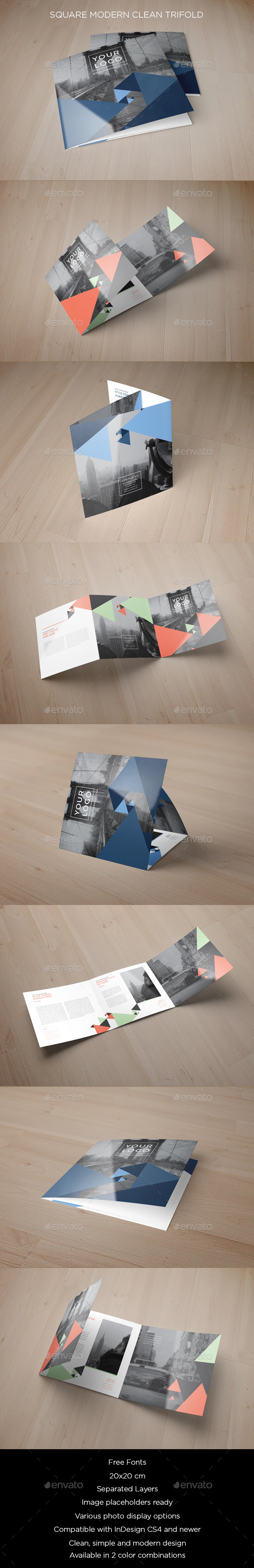 GraphicRiver Square Blue Triangles Pattern Trifold 10432591