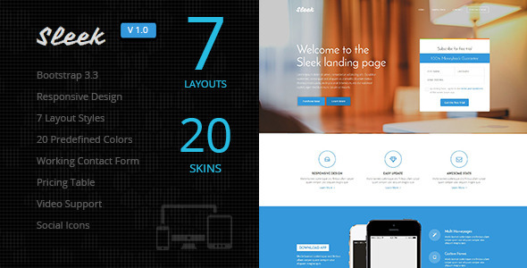 ThemeForest Sleek Responsive Bootstrap 3 Landing Page 10401550