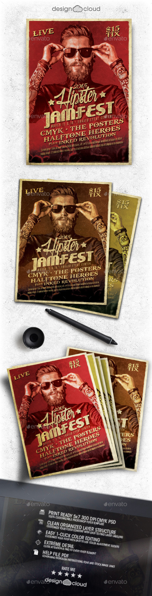 GraphicRiver Hipster Jam Fest Flyer Poster Template 10373202