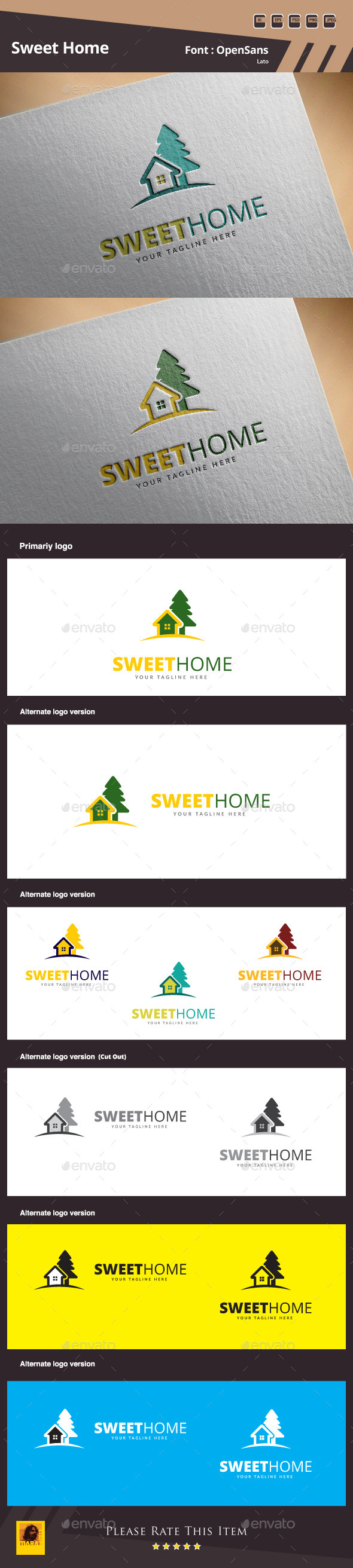 GraphicRiver Sweet Home Logo Template 10433264