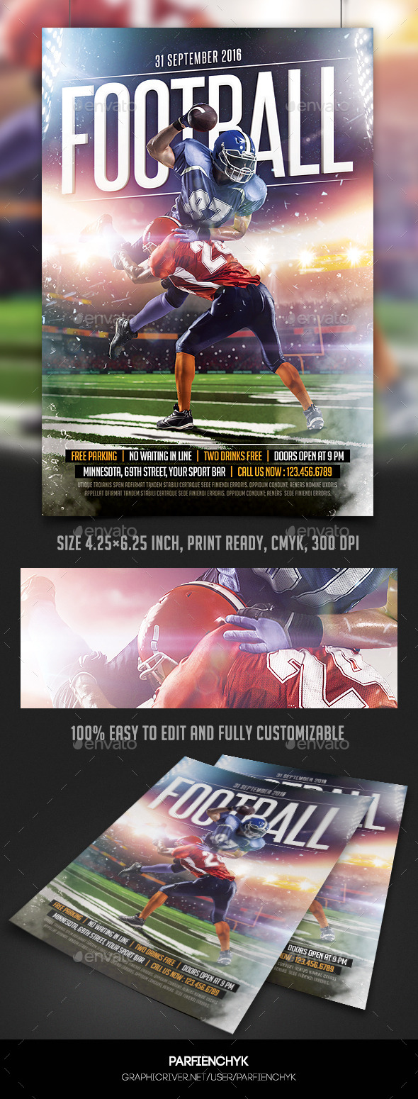 GraphicRiver Football Game Flyer Template 10433396