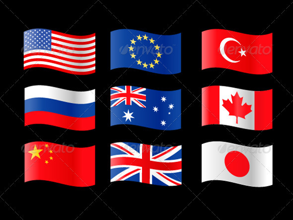 Nine Country Flags
