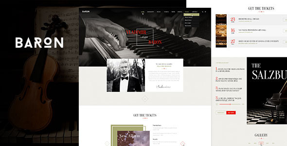 ThemeForest Baron Music PSD Template 10433521