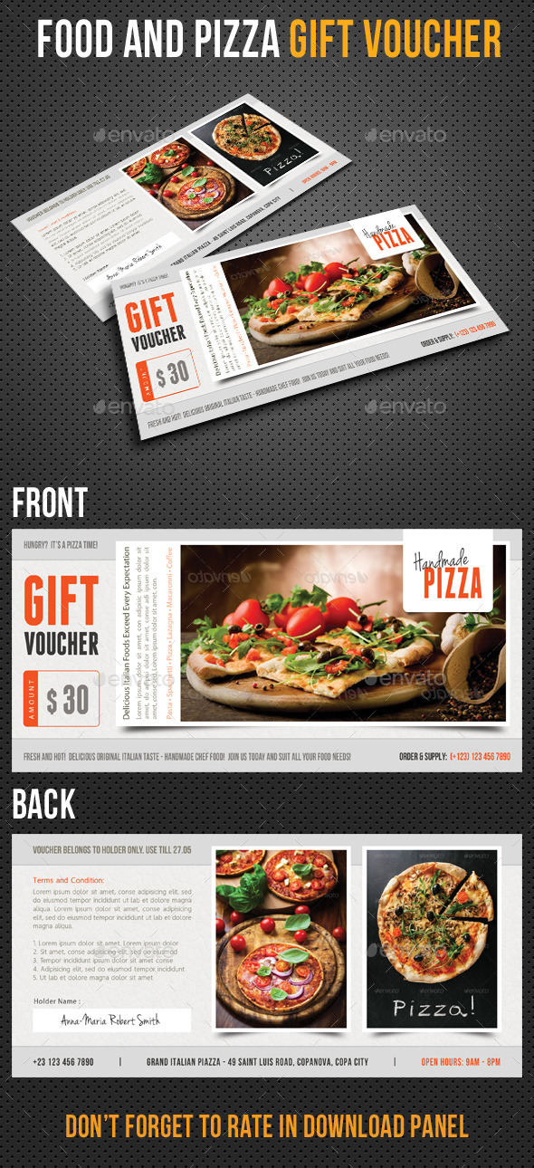 GraphicRiver Food and Pizza Gift Voucher V01 10433708