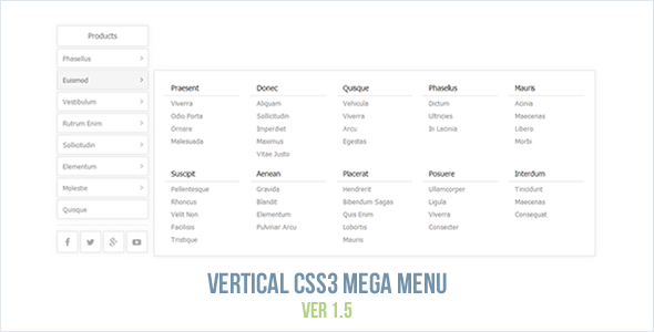 Vertical CSS3 Mega Menu - CodeCanyon Item for Sale