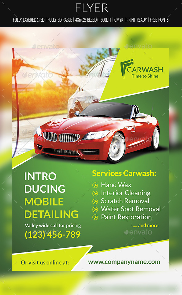 GraphicRiver Car Wash Flyer 10384346