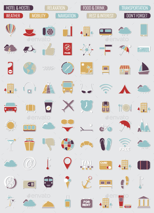GraphicRiver 80 Travel Icons Set 10420058