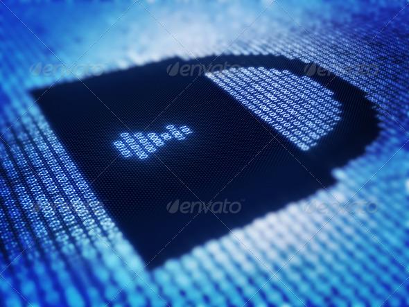 PhotoDune Binary code and lock shape on pixellated screen 1051875