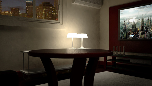 3DOcean Living room night scene 10436048