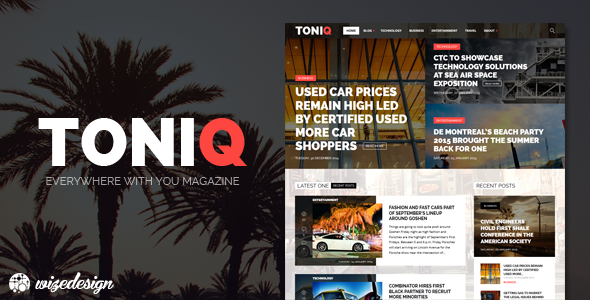 ThemeForest Toniq Magazine WordPress Theme 10171457