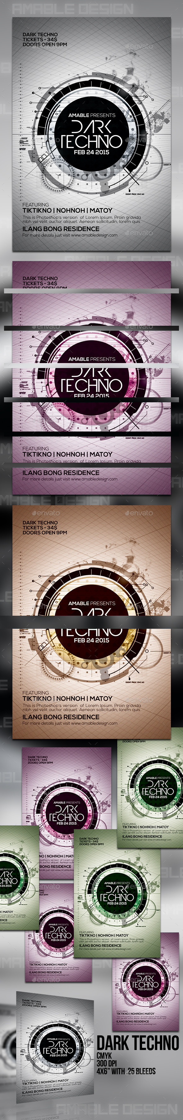 GraphicRiver Dark Techno Flyer 10436237