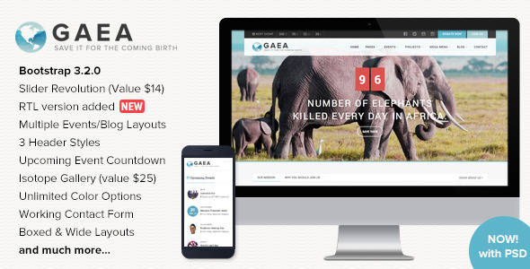 Image of GAEA - Responsive Environmental HTML5 Template