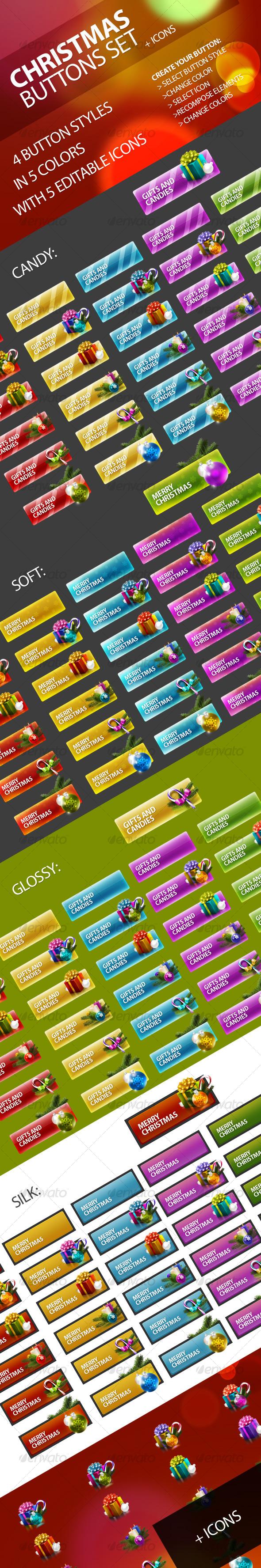 Christmas Buttons Set - Buttons Web Elements