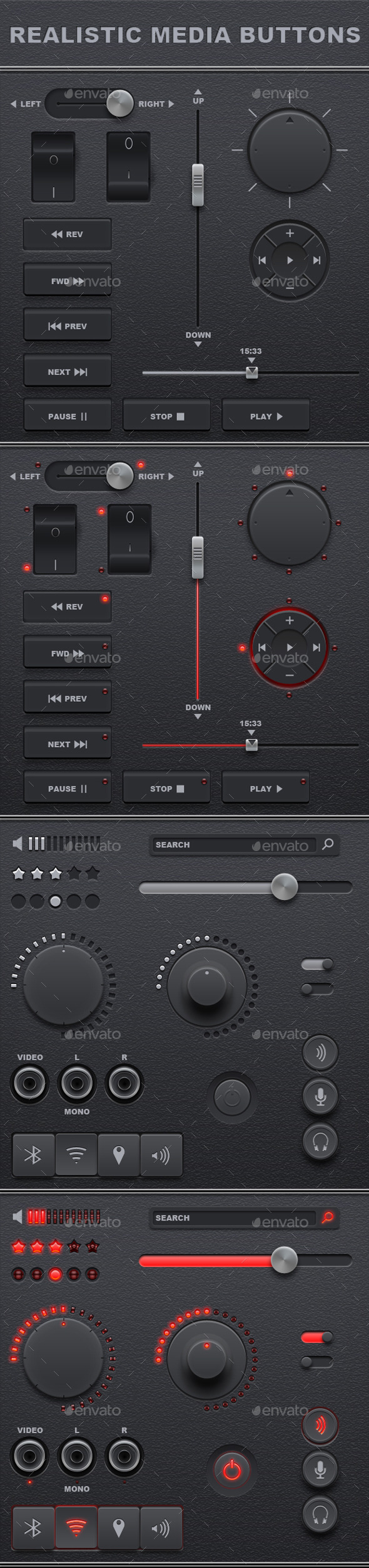 GraphicRiver Realistic Media Buttons 10436826