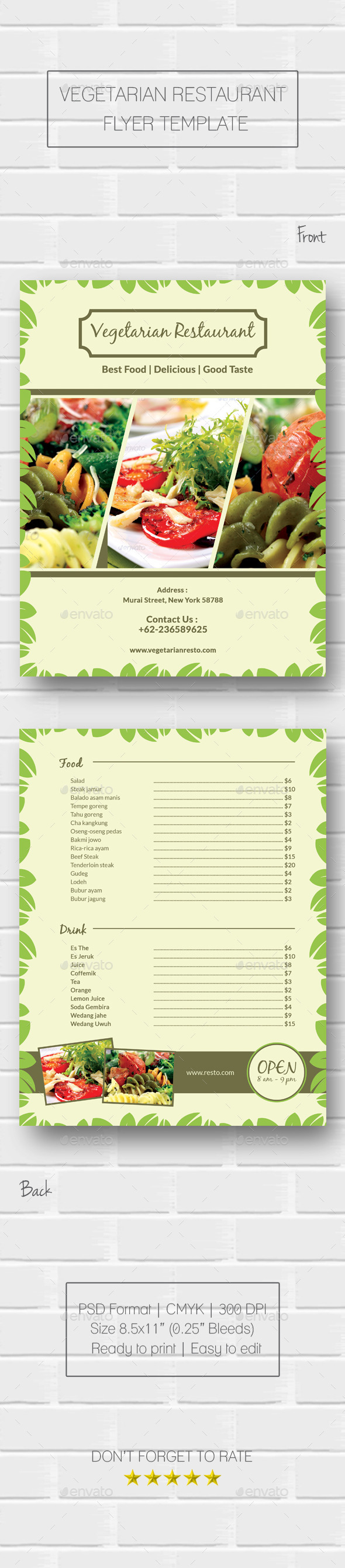 GraphicRiver Vegetarian Restaurant Flyer 10437372