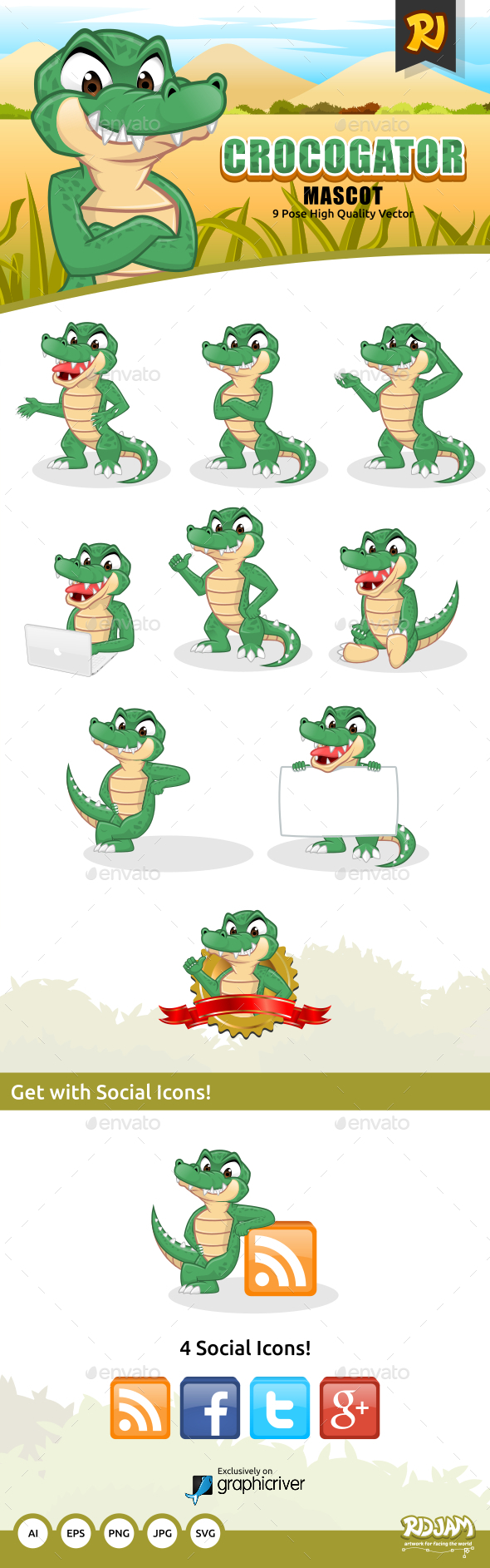 GraphicRiver Crocogator Mascot 10437449