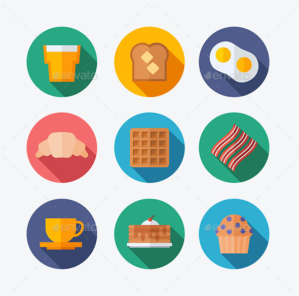 GraphicRiver Breakfast Flat Icons 10437726