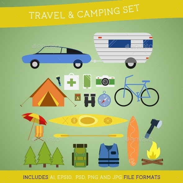 GraphicRiver Set of Camping and Travel Elements 10438373