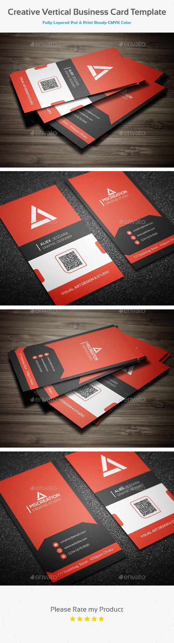 GraphicRiver Creative Vertical Business Card Template 10438513