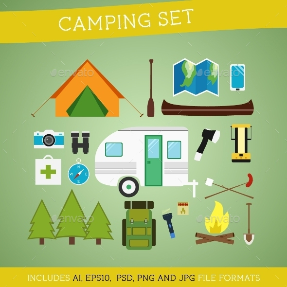 GraphicRiver Camping Equipment Set 10438516