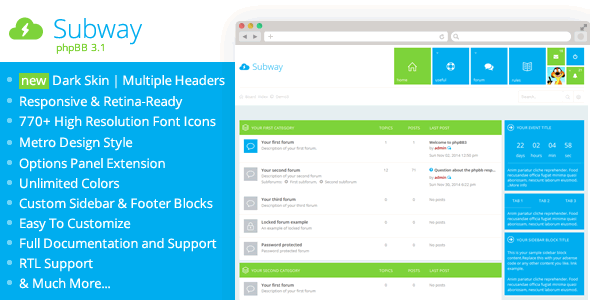 Subway - Flat Metro phpBB 3.1 & 3.2 Theme