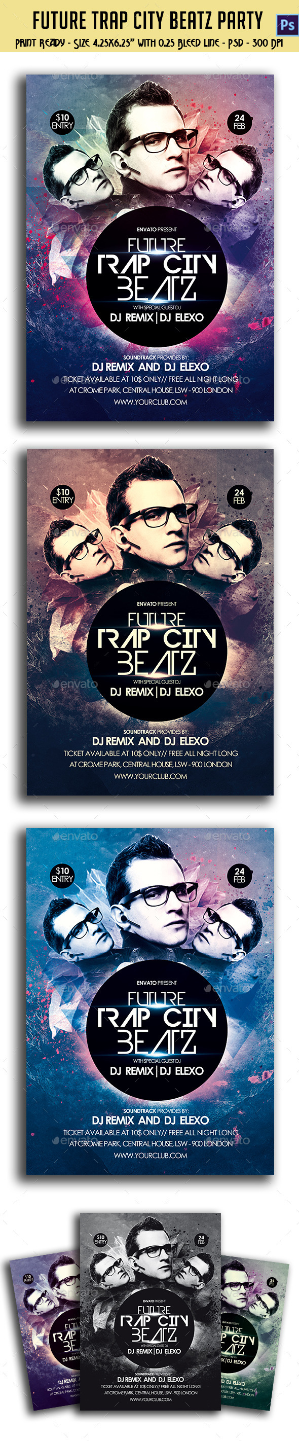GraphicRiver Future Trap City Beatz Party Flyer 10439051
