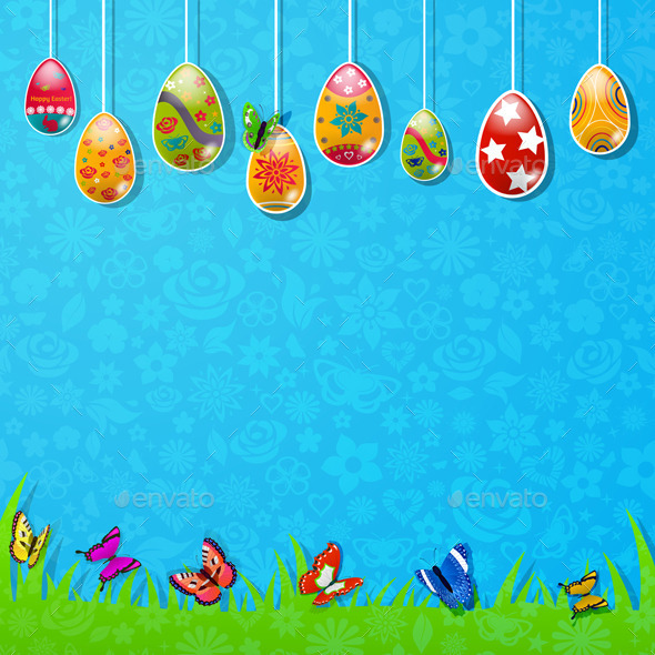 GraphicRiver Easter Background Made Of Paper 10439119