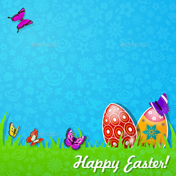 GraphicRiver Easter Background Made Of Paper 10439128