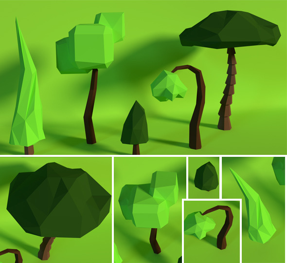 LowPoly Trees .Pack8 - 3DOcean Item for Sale