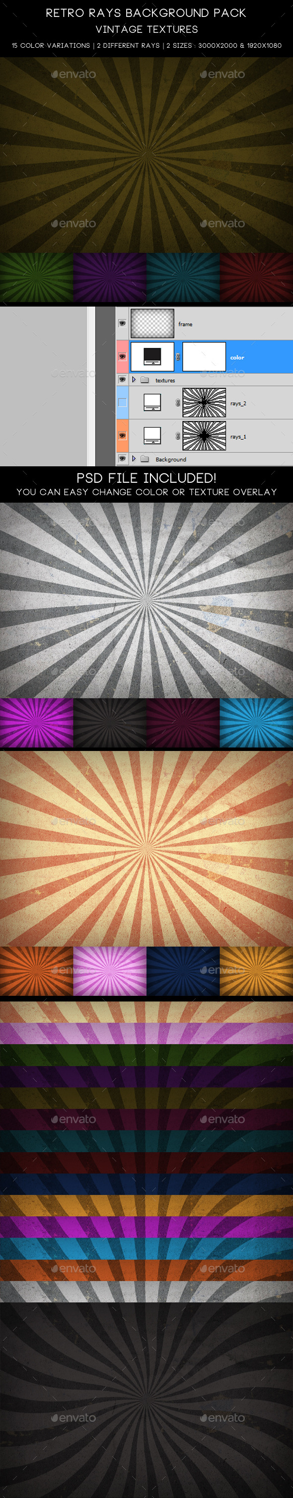 GraphicRiver Retro Rays Background Pack Vintage Textures 10439858