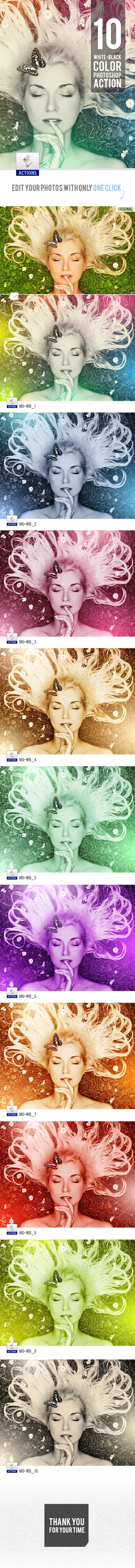 GraphicRiver 10 White-Black Color Photoshop Actions 10439995
