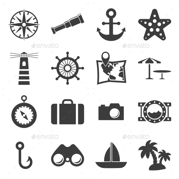 GraphicRiver Sea and Beach icons 10440031