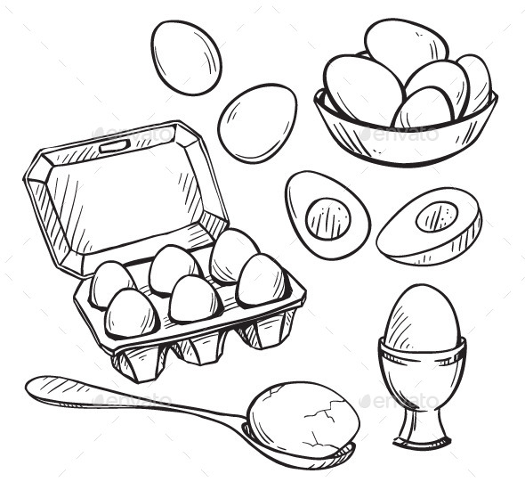 GraphicRiver Set of Eggs Drawings 10440419