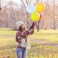 Happy Young Woman With Colorful Balloons - PhotoDune Item for Sale