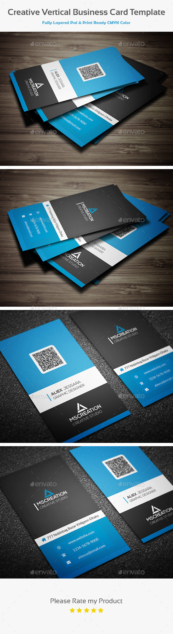 GraphicRiver Creative Vertical Business card template 2 10441016
