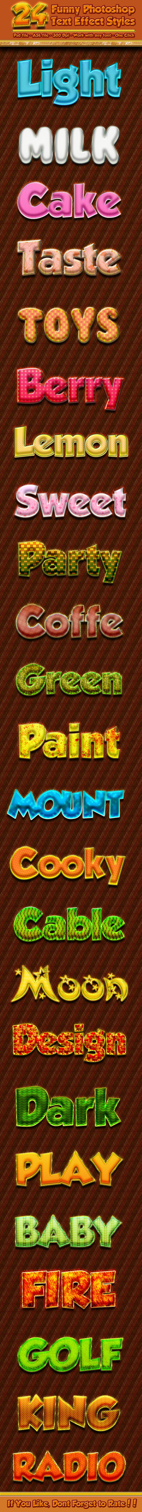 GraphicRiver 24 Funny Photoshop Text Effect Styles 10442185
