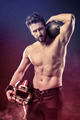 Shirtless football player with helmet - PhotoDune Item for Sale