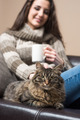 Young woman with her cat - PhotoDune Item for Sale