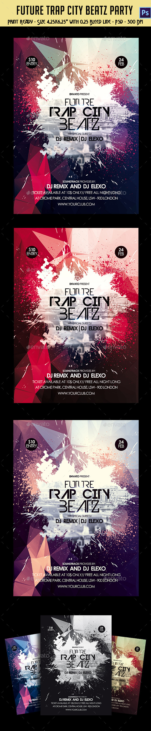 GraphicRiver Future Trap City Beatz Party Flyer 10442715