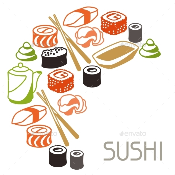 GraphicRiver Background with Sushi 10442967