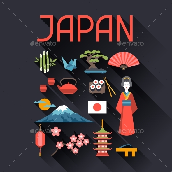 GraphicRiver Japan Icons and Symbols Set 10442981
