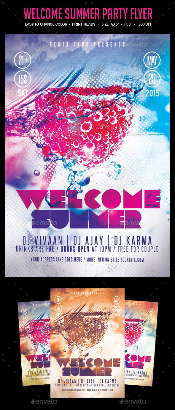 GraphicRiver Welcome Summer Party Flyer 10443135