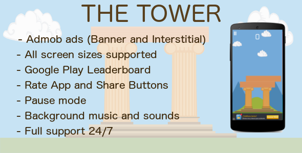 CodeCanyon The Tower with Admob & Leaderboard & Share 10443326