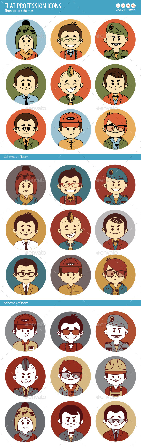 Set of Flat People Profession Icons
