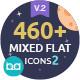 460 Mixed Flat Icons 2 - GraphicRiver Item for Sale
