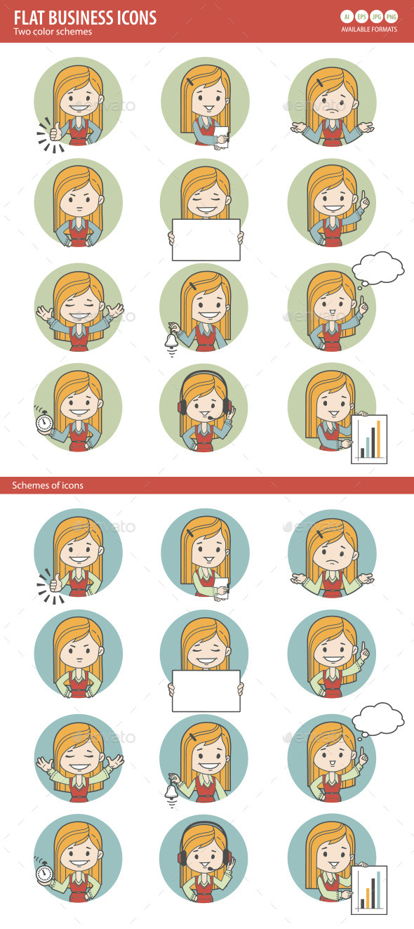 GraphicRiver Two Sets of Flat People Icons 10443840