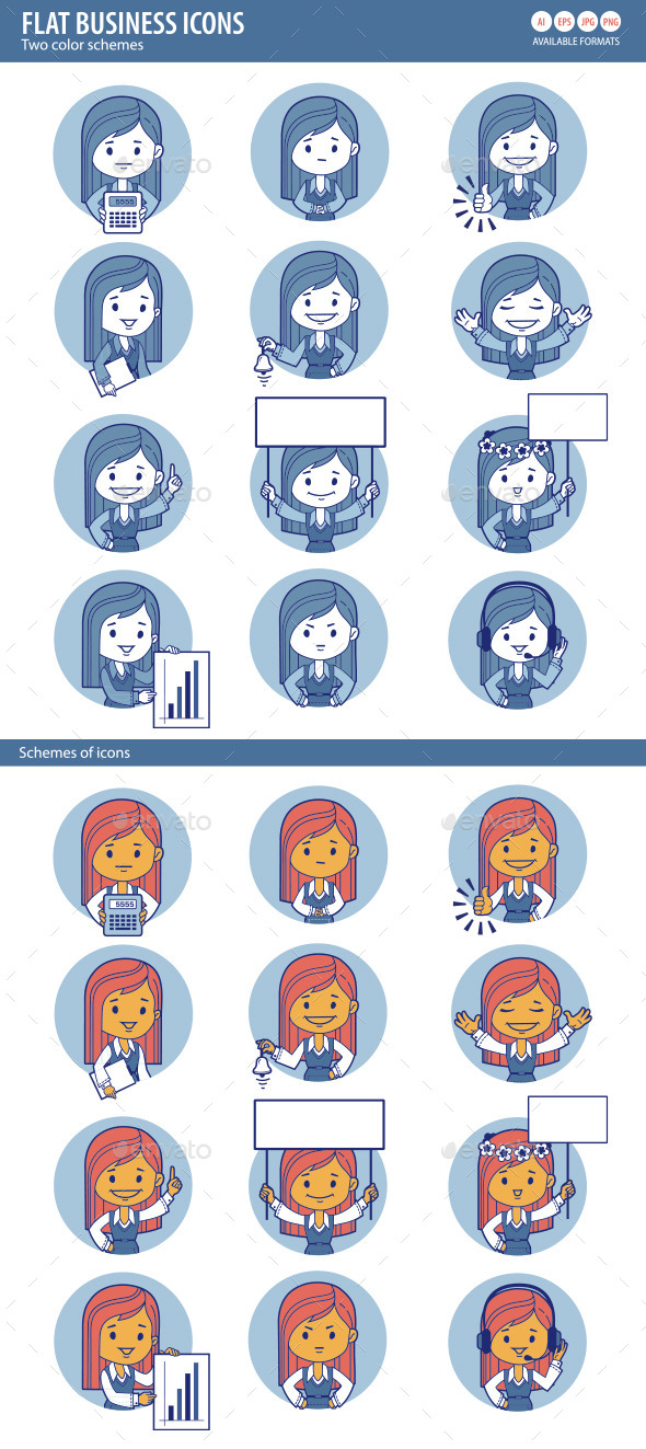 GraphicRiver Two Sets of Flat People Icons with Businesswomen 10443897